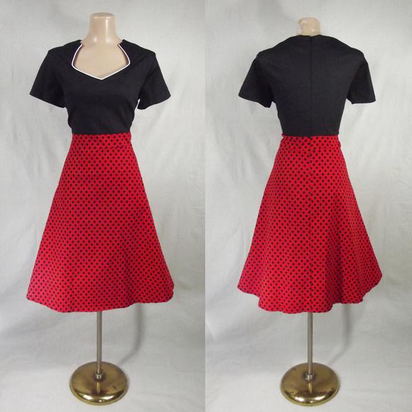 RETRO 50s Plus Size 4X Red & Black Polka Dot Dress